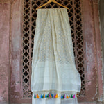 White Checkered  Dupatta With Light Copper Zari Weaves & Colourful Tassels - shoonya banaras