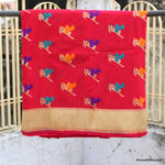 Tomato Red Color Banarasi Silk Saree With Bird Motifs - shoonya banaras