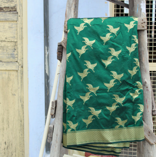 Bottle Green Color Banarasi Silk Saree With Bird Motifs - shoonya banaras