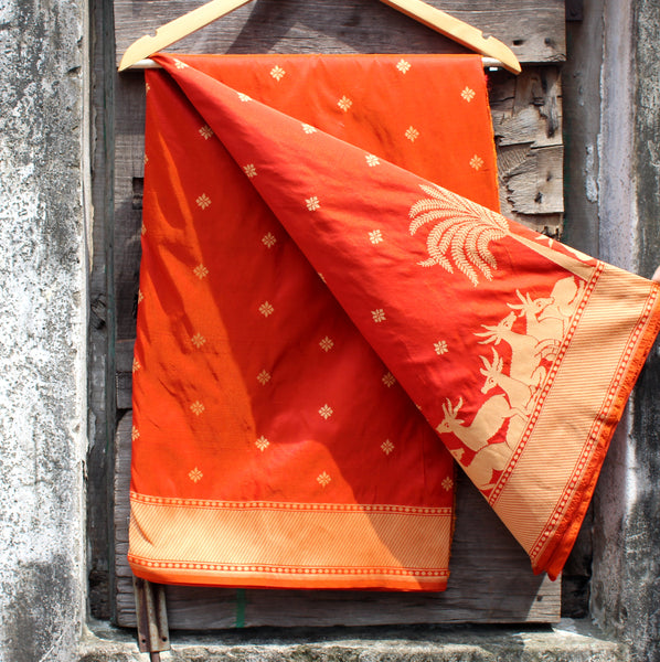 Orange Color Silk Banarasi Saree - shoonya banaras