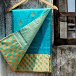 Sky Blue Katan Silk Banarasi Saree With Paatli And Contrast Off-White Border - shoonya banaras