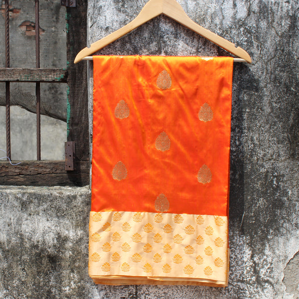 Mustard Katan Silk Banarasi Saree With Paatli And Contrast Off-White Border - shoonya banaras