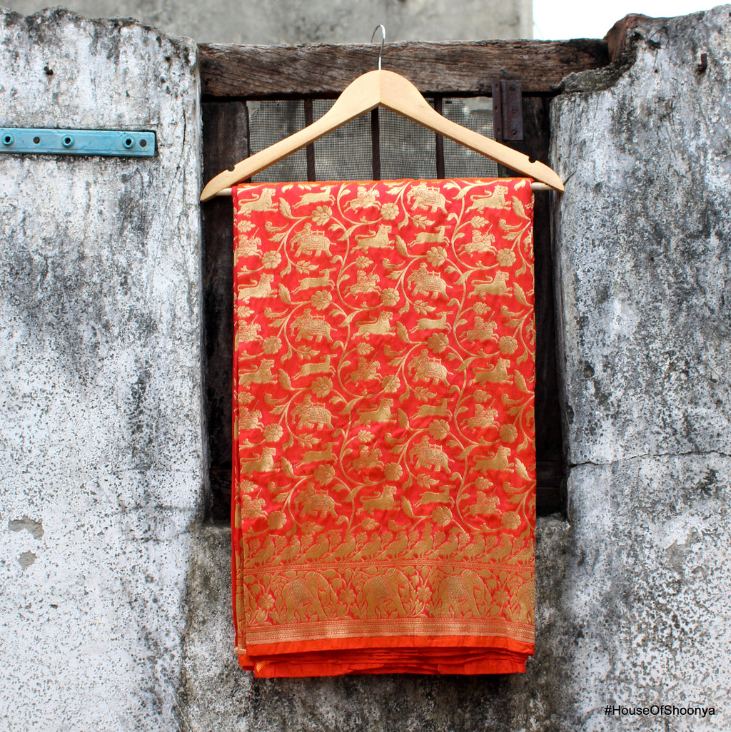 Peach Color Shikargah Banarasi Silk Saree - shoonya banaras