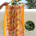 Bed Of Roses Over Mustard Pure Chanderi Dupatta - shoonya banaras