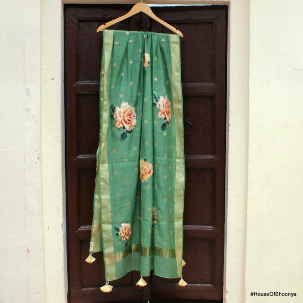 Pickle Green Pure Cotton Silk Banarasi Dupatta With Floral Appliques - shoonya banaras