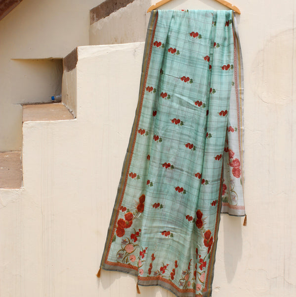 Light Blue Pure Chanderi Floral Print Dupatta - shoonya banaras