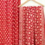 Red Banarasi Pure Georgette Dress Material - shoonya banaras