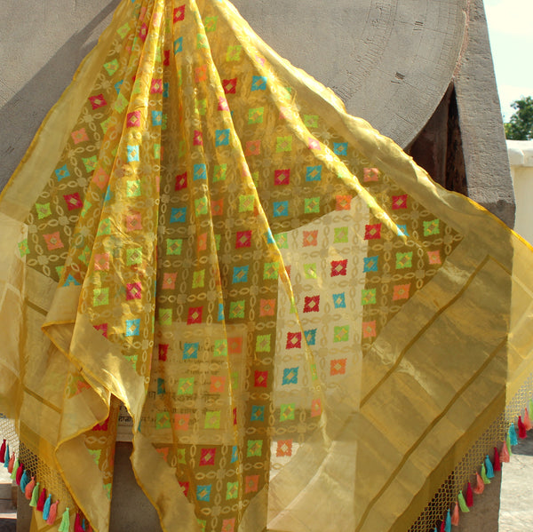 Lemon Yellow Pure Organza Silk Banarasi Dupatta - shoonya banaras