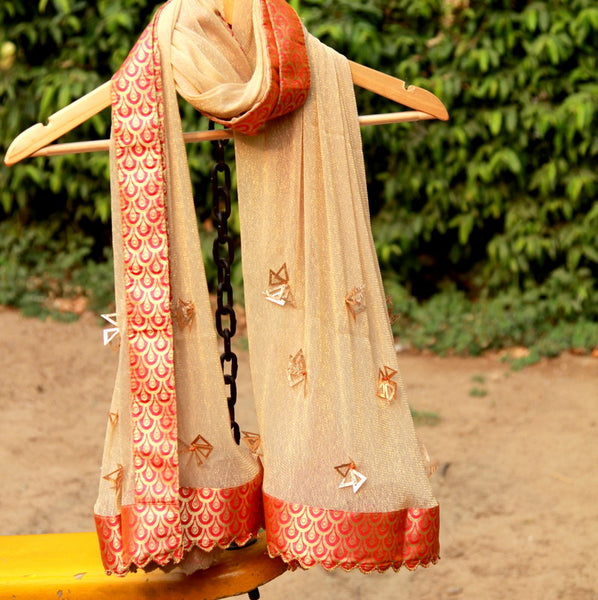 Peach Net Stole with Cutwork Banarasi Border - shoonya banaras
