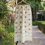 White Colour Pure Cotton Embroidery Dupatta With Thin Zari Border - shoonya banaras