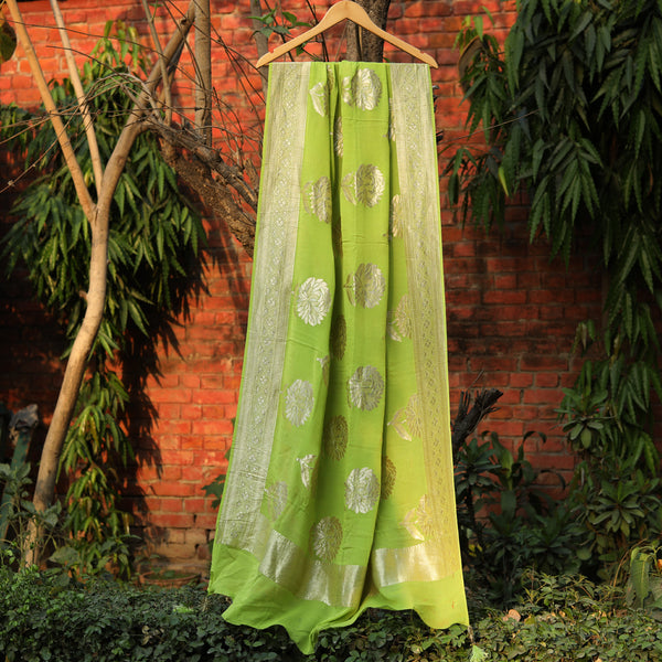 Lime Green Pure Georgette Banarasi Dupatta With Flower Motifs - shoonya banaras