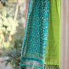 Colour Block In Pear & Pine Green Banarasi Silk Dupatta - shoonya banaras