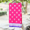 Fuschia Pink Banarasi Silk Saree With Contrast Blue Border - shoonya banaras