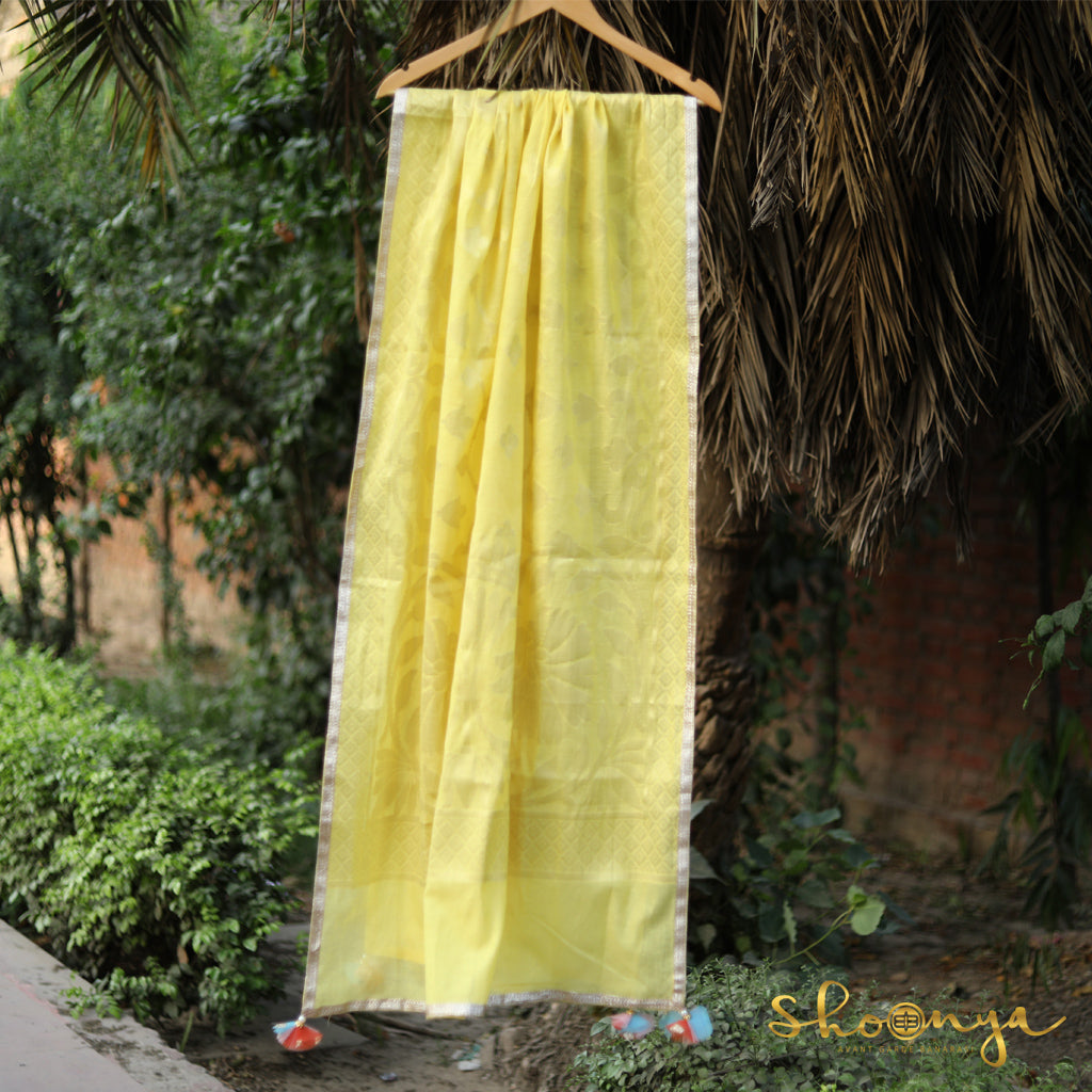 Lemon Yellow Pure Spun Cotton Banarasi Dupatta With Border Work - shoonya banaras