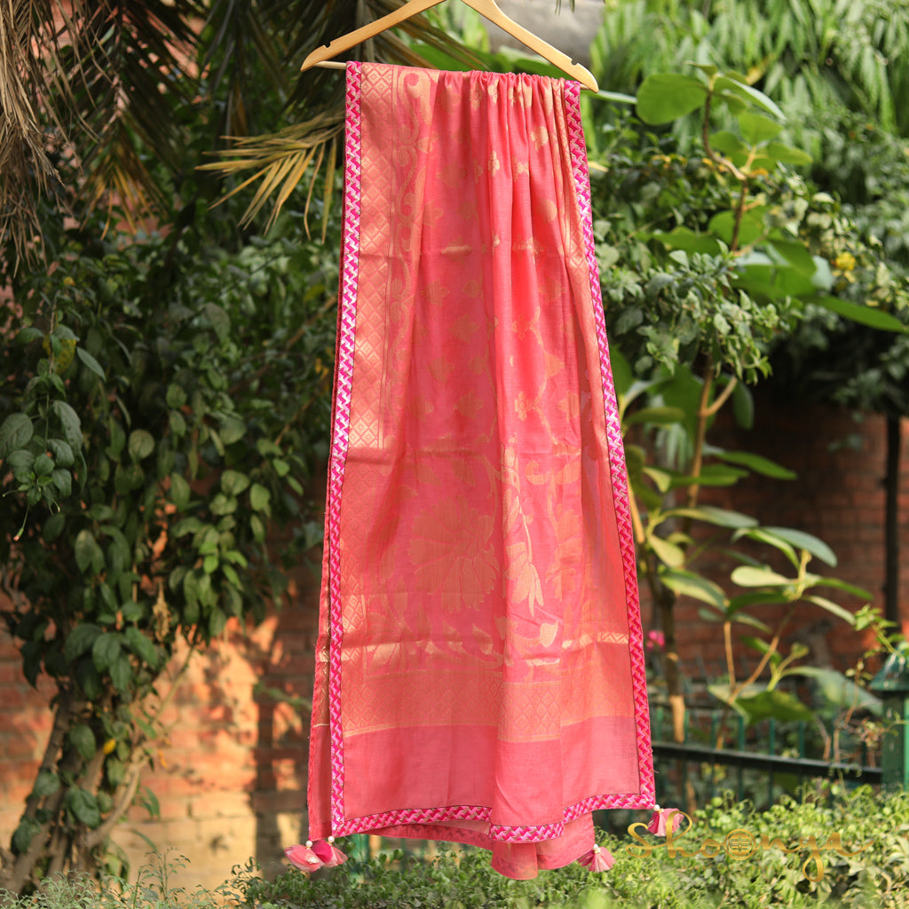 Rose Pink Pure Spun Cotton Banarasi Dupatta With Border Work - shoonya banaras