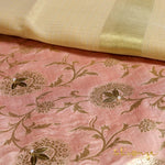 Pale Pink Pastel Pure Brocade Suit Fabric With Tissue Dupatta - shoonya banaras