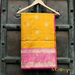 Mustard Pure Katan Silk Banarasi Saree With Contrast Pink Border - shoonya banaras