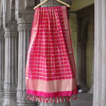 Fuschia Pink Gharchola Pure Cotton Silk Banarasi Dupatta With Mirror Highlights - shoonya banaras