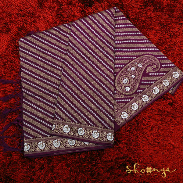 Purple Banarasi Silk Dupatta In Diagonal Weaves