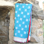 Sky Blue Banarasi Silk Saree With Contrast Hot Pink Border - shoonya banaras