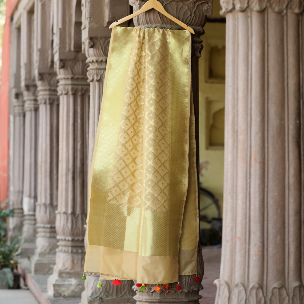 Beige & Gold Banarasi Silk Dupatta With Colourful Handmade Tassels - shoonya banaras