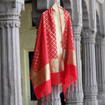 Red Banarasi Silk Dupatta In Geometrical Weaves - shoonya banaras