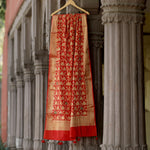 Tomato Red Banarasi Silk Dupatta With All-Over Handwork Highlights - shoonya banaras