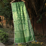 Olive Green Pure Spun Cotton Banarasi Dupatta With Border Work - shoonya banaras