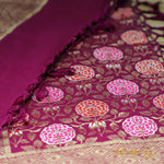 Purple Banarasi Silk Dupatta In Marigold Weaves