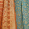 Turquoise Blue & Apricot Orange Pure Georgette Banarasi Dress Material - shoonya banaras