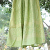 Light Green Pure Cotton Banarasi Zari Dupatta With Handmade Tassels - shoonya banaras