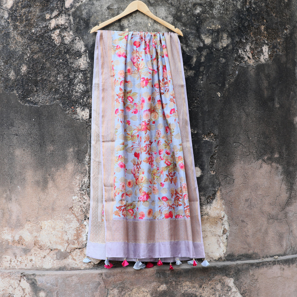 Grey Banarasi Silk Dupatta With Floral Digital Prints - shoonya banaras