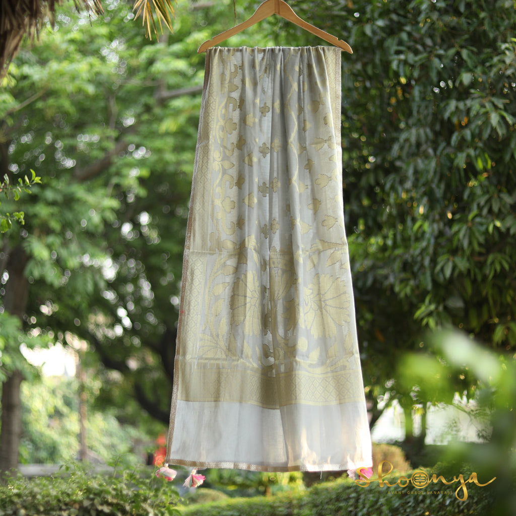 Pastel Grey Pure Spun Cotton Banarasi Dupatta With Border Work - shoonya banaras
