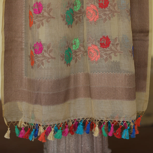 Beige Color Pure Cotton Banarasi Dupatta With MultiColor Rose Weaves - shoonya banaras