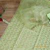 Pista Green Pure Silk Full Suit Material With Organza Dupatta - shoonya banaras