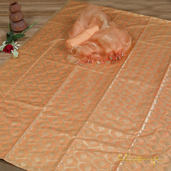 Peach Orange Pure Silk Full Suit Material With Organza Dupatta - shoonya banaras