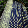 Carbon Blue Banarasi Silk Dupatta With Triangular Border