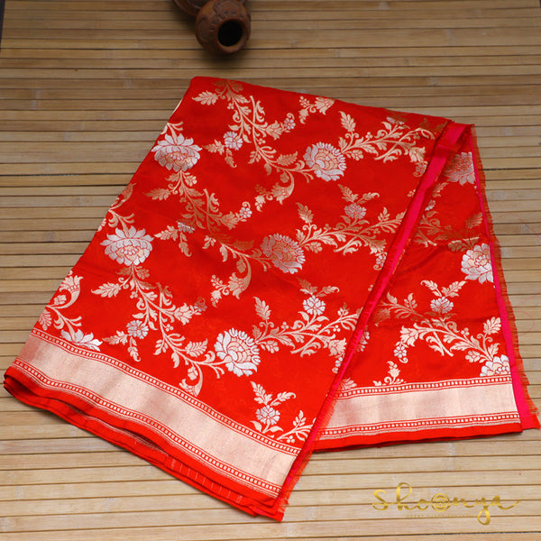 Red Pure Katan Silk Handloom Banarasi Dupatta With Thin Border