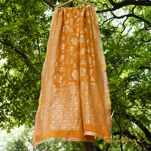 Light Orange Pure Matka Silk Handloom Dupatta With Gota Patti Border - shoonya banaras