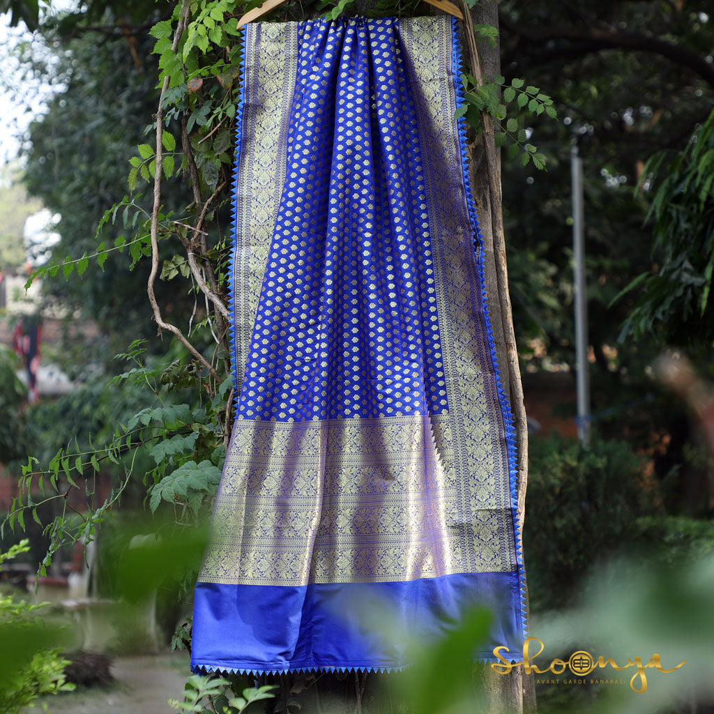 Royal Blue Banarasi Dupatta With Triangular Border