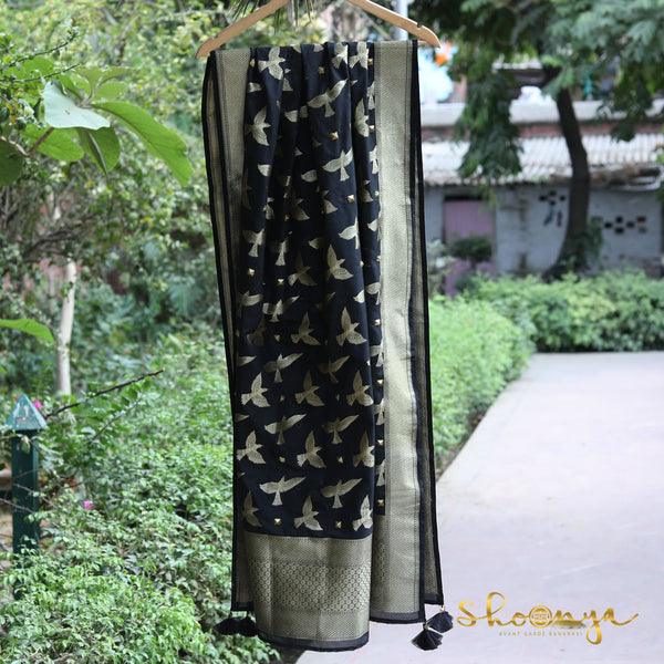 Black Bird Motifs Banarasi Silk Designer Dupatta With Handwork - shoonya banaras