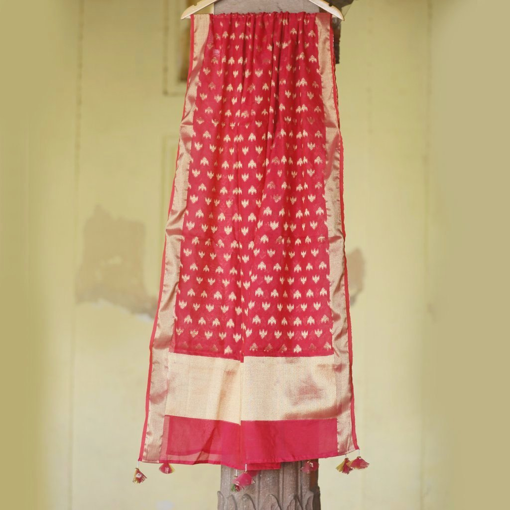 Fiesta Red Pure Cotton Silk Banarasi Dupatta With Handmade Tassels - shoonya banaras