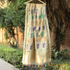 Ivory Colour Meenakari Banarasi Silk Shikargaah Dupatta With Handwork Border - shoonya banaras