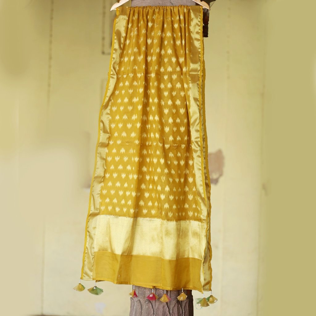 Aspen Yellow Pure Cotton Silk Banarasi Dupatta With Handmade Tassels - shoonya banaras