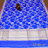 Royal Blue Pure Katan Silk Handloom Banarasi Dupatta In Floral Zari