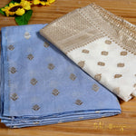 Aqua Blue & White Banarasi Chanderi Silk Shirt & Dupatta Ensemble - shoonya banaras
