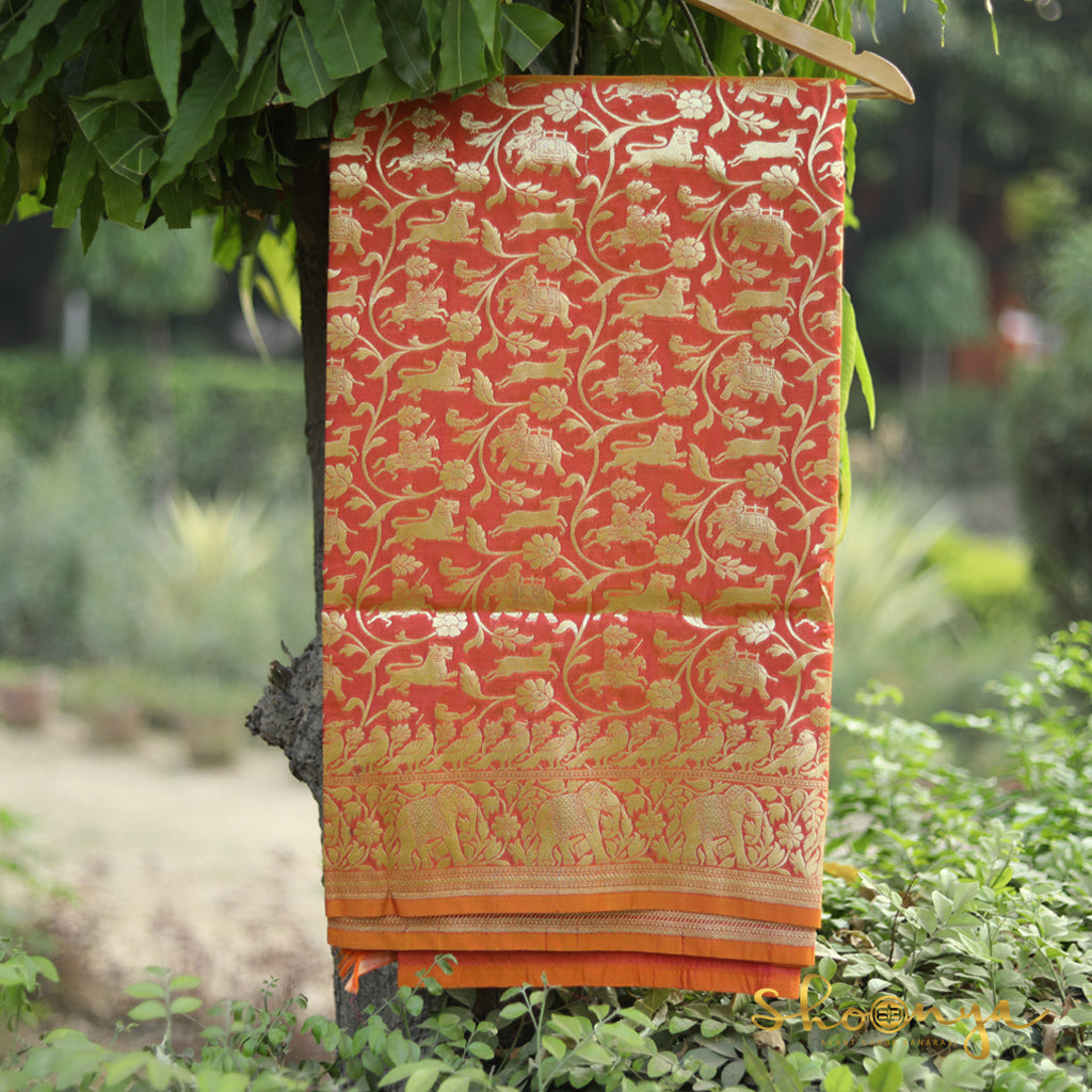 Light Orange Color Shikargah Banarasi Silk Saree - shoonya banaras