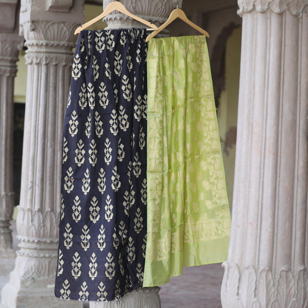 Black & Lime Green Banarasi Silk Suit Dress Material - shoonya banaras
