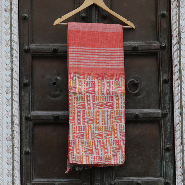 Coral Pink Pure Linen Saree With Multicolor Geometrical Prints - shoonya banaras