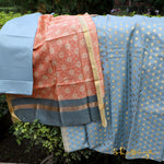 Cloud Blue Silk Dress Material With Floral Peach Dupatta